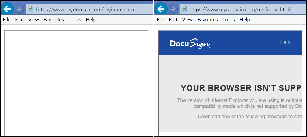 blank screen and unsupported browser error in iframe