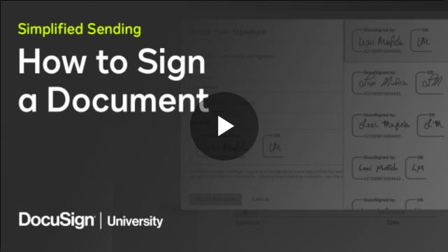 Signing a Document with DocuSign Simplified Sending Video