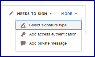 """More"" menu displaying option for ""Select Signature Type"""