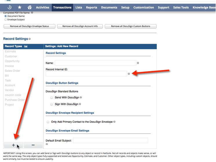 NetSuite Admin Record Settings