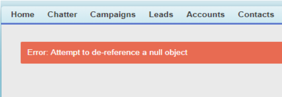 attempt to de-reference a null object
