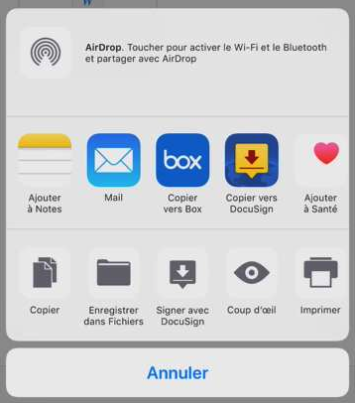 iOS - Menu actions de documents, sélectionnez Copier vers DocuSign