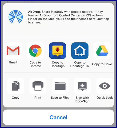 iOS - Document actions menu, select Copy to DocuSign