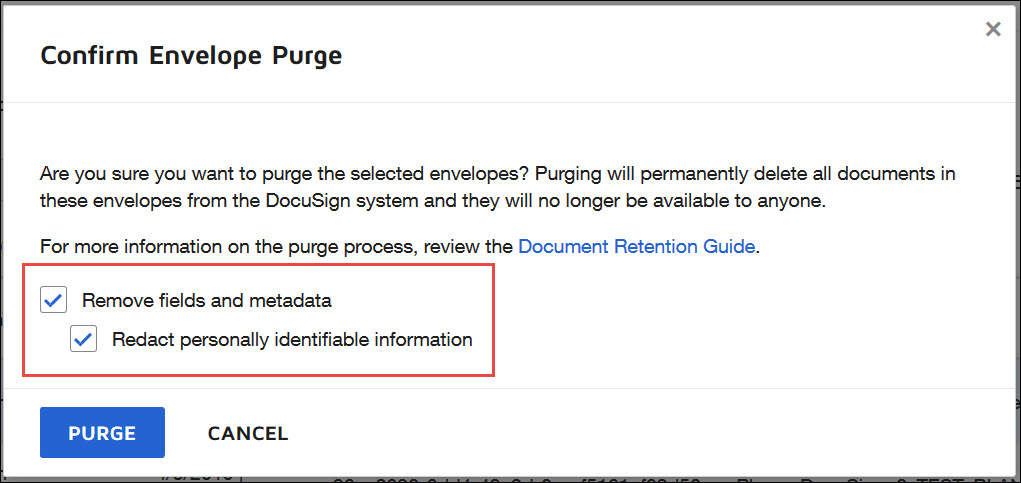 Purge - Redact personally identifiable information option