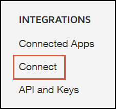 DS Admin Integrations Sidebar - Connect