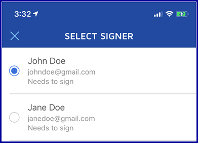 iOS App - Select Signer to add fields