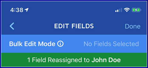 iOS App - Reassign Fields Completed