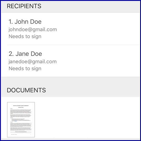 iOS App - Review Recipients and Documents