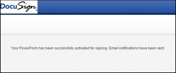 Email PowerForm ActivateOnly - Confirmation Screen