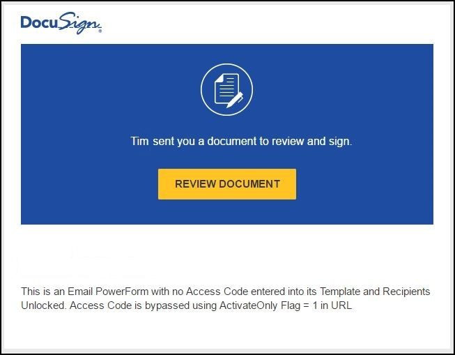 Email PowerForm ActivateOnly - Envelope Activation