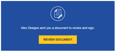 Review the DocuSign email: Open the email and review the message from the sender. ClickREVIEW DOCUMENTto begin the signing process.
