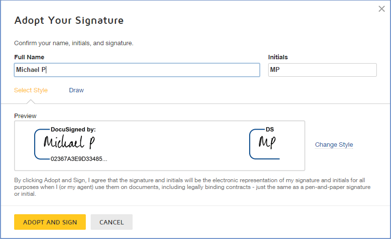 Click theSIGNtag. You are asked to Adopt Your Signature