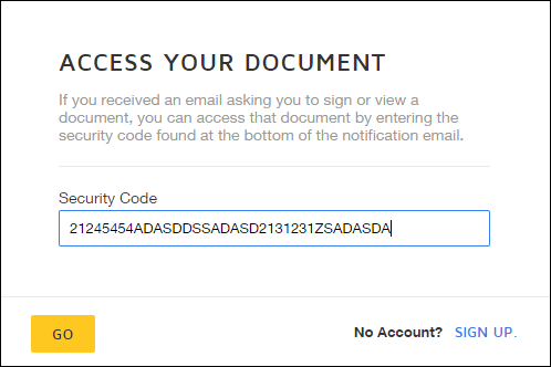 Access Your Document page--Enter your security code