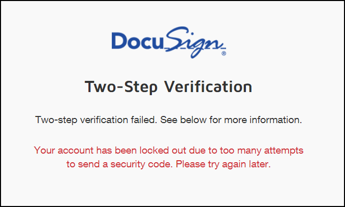 Two Step Verification Your Account Has Been Locked Out Due To Too