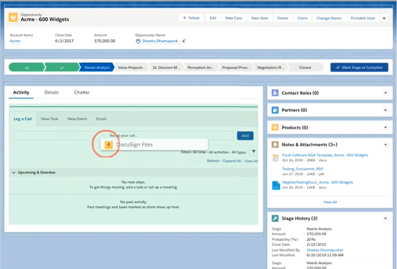 DocuSign Negotiate for Salesforce - Add DocuSign Files component to Salesforce layout